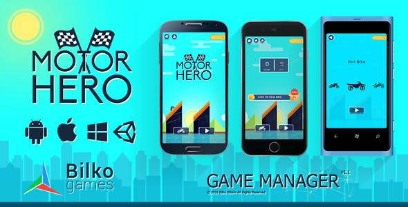 Motor Hero - UI Game Manager / AdMob / Google Play Leaderboard