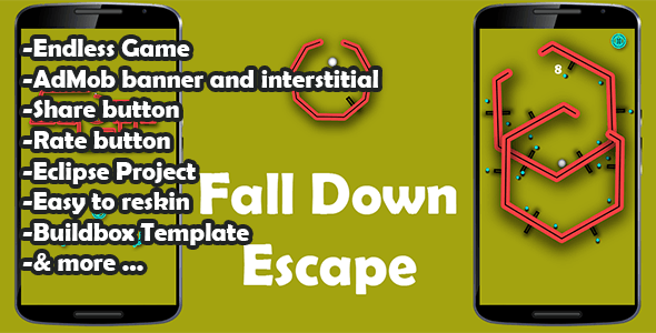Fall Down Escape - Admob -Buildbox Game - Template Included + Android Eclipse Project