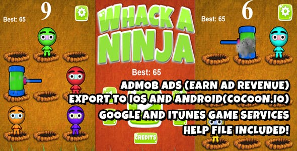 Whack A Ninja  Warrior Source Code (Construct 2)