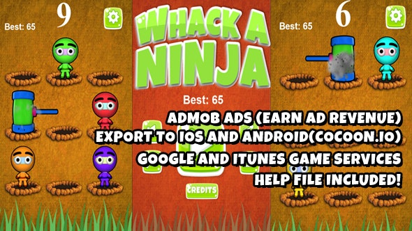 Whack A Ninja  Warrior Source Code (Construct 2) - CodeCanyon Item for Sale