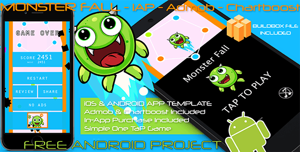 Monster Fall - iOS - Android - iAP + ADMOB + Leaderboards + Chartboost - CodeCanyon Item for Sale