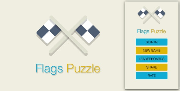 Flags Puzzle - Admob + Leaderboards - CodeCanyon Item for Sale