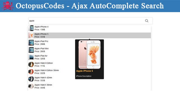 OctopusCodes - Ajax AutoComplete Search