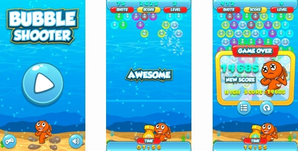 Bubble Shooter - HTML5 Game + Android + AdMob (Construct 3 | Construct 2 | Capx)