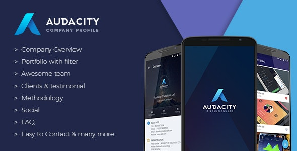 Audacity - Your iOS Company Profile App + Free Static Website + Google Analytics - CodeCanyon Item for Sale