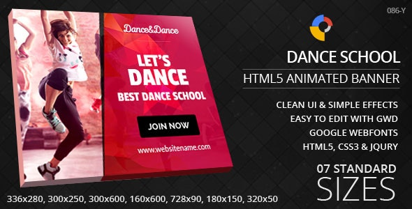 Dance School - HTML5 ad banners - CodeCanyon Item for Sale