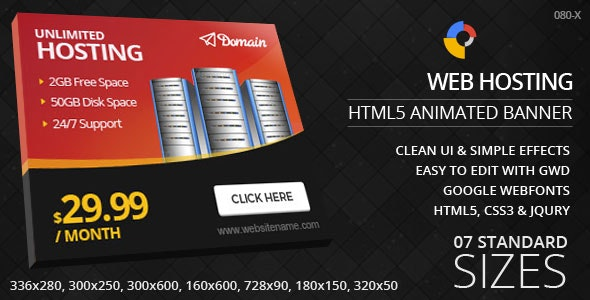 Web Hosting - HTML5 ad banners - CodeCanyon Item for Sale
