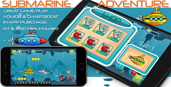 Submarine Adventure - iOS - Android - iAP + ADMOB + Leaderboards + Chartboost Buildbox