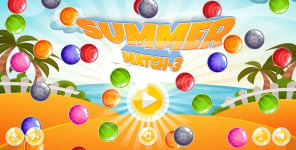 Summer Match-3 - HTML5 Game + Android + AdMob (Construct 3 | Construct 2 | Capx) - CodeCanyon Item for Sale