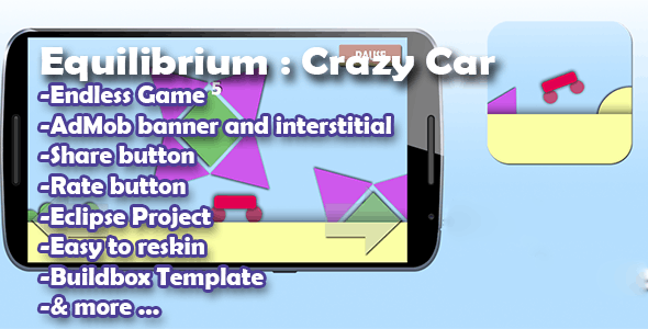 Equilibrium : Crazy Car - Admob - Buildbox Game - Template Included + Android Eclipse Project
