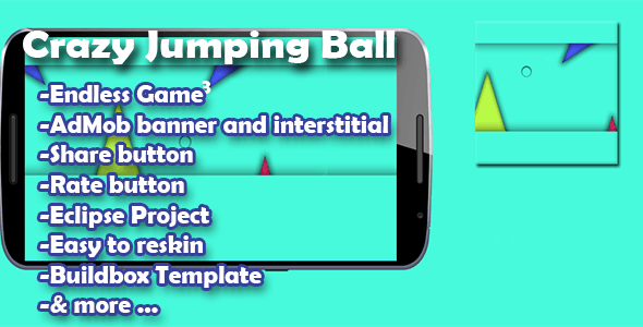 Crazy Jumping Ball - Admob - Buildbox Game - Template Included + Android Eclipse Project - CodeCanyon Item for Sale