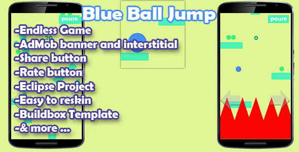 Blue Ball Jump - Admob - Buildbox Game - Template Included + Android Eclipse Project - CodeCanyon Item for Sale