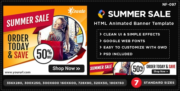 HTML5 Summer Sale Banners - GWD - 7 Sizes(NF-CC-097) - CodeCanyon Item for Sale