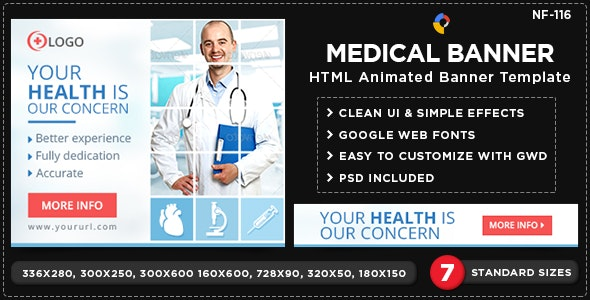 HTML5 Medical Banners - GWD - 7 Sizes(NF-CC-116) - CodeCanyon Item for Sale