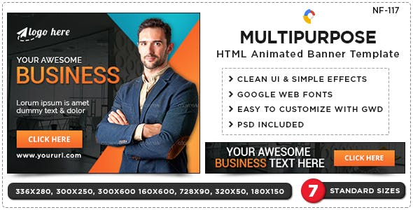 HTML5 Multi Purpose Banners - GWD - 7 Sizes(NF-CC-117)