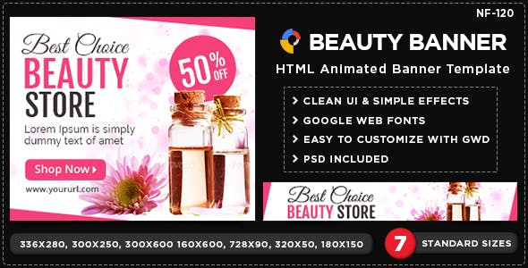 HTML5 Health & Beauty Banners - GWD - 7 Sizes(NF-CC-120)