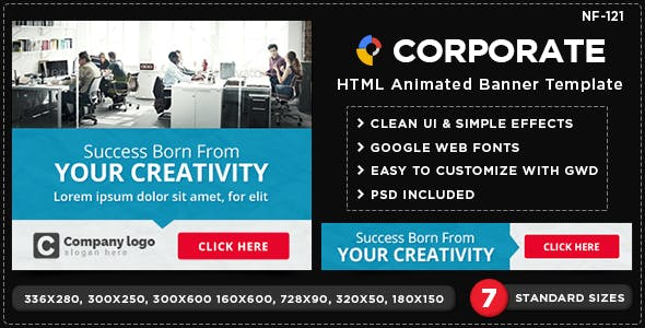 HTML5 Corporate Purpose Banners - GWD - 7 Sizes(NF-CC-121)