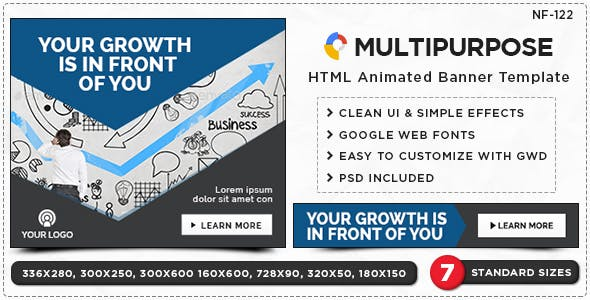HTML5 Multi Purpose Banners - GWD - 7 Sizes(NF-CC-122)