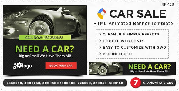 HTML5 Car Sale & Service Banners - GWD - 7 Sizes(NF-CC-122)