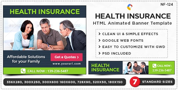 HTML5 Insurance Banners - GWD - 7 Sizes(NF-CC-124) - CodeCanyon Item for Sale