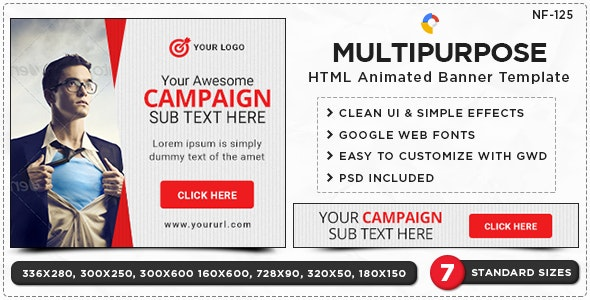 HTML5 Multi Purpose Banners - GWD - 7 Sizes(NF-CC-125) - CodeCanyon Item for Sale