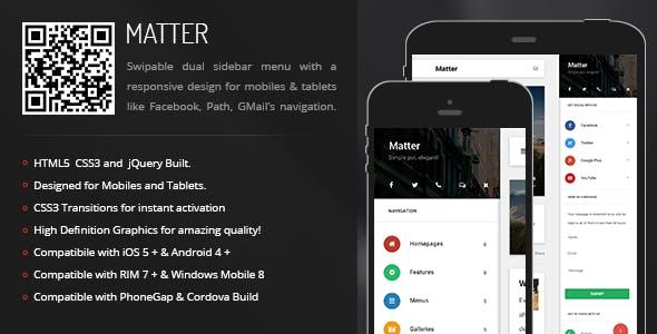Matter | Sidebar Menu for Mobiles & Tablets