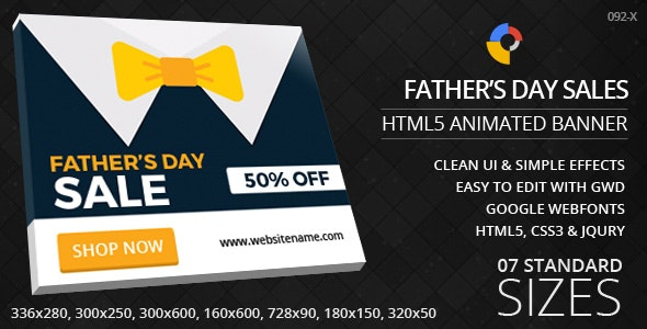 Father's Day Sale - HTML5 Ad Banners - CodeCanyon Item for Sale