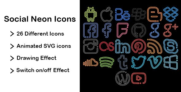Social Neon Icons - Animated SVG Icons