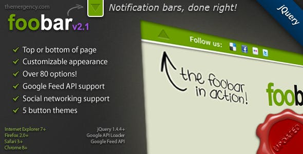 FooBar - A jQuery Notification Bar        Nulled