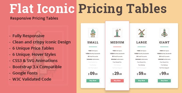 Flat Iconic Pricing Tables