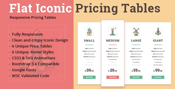 Flat Iconic Pricing Tables - CodeCanyon Item for Sale