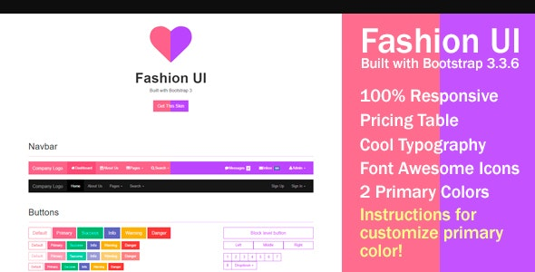Fashion UI - Bootstrap 3 Skin - CodeCanyon Item for Sale