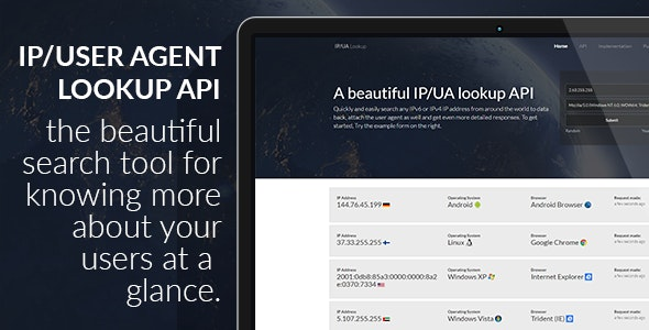 IP and User Agent Lookup API Search Tool - CodeCanyon Item for Sale