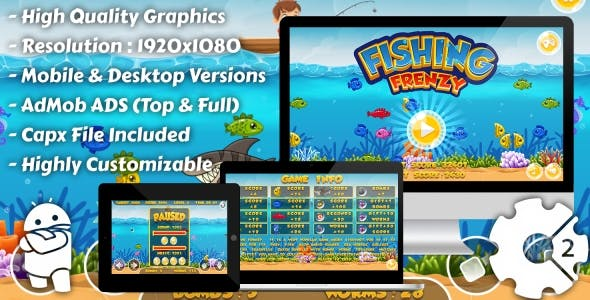 Fishing Frenzy - HTML5 Game, Mobile Version+AdMob!!! (Construct 3 | Construct 2 | Capx)