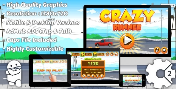 Crazy Runner - HTML5 Game, Mobile Version+AdMob!!! (Construct 3 | Construct 2 | Capx) - CodeCanyon Item for Sale