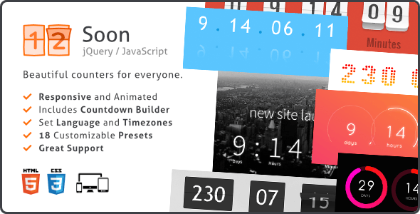 Soon Countdown Builder, Responsive jQuery Plugin - CodeCanyon Item for Sale