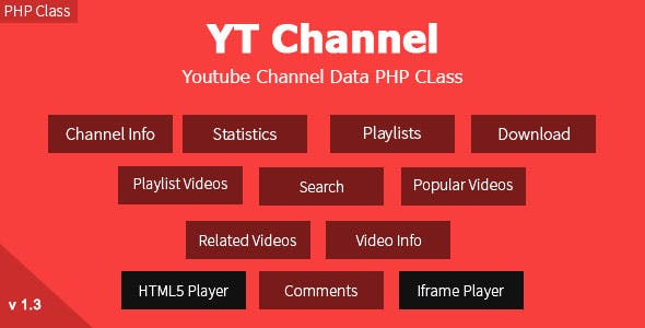 YT Channel - YouTube Channel And Video Details API V3 PHP Class