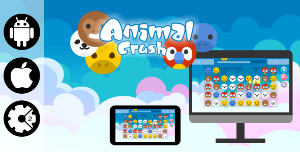 Animal Crush - HTML5 Desktop and Mobile Game + Admob