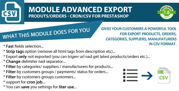 Module Advanced Export - Produts/Orders - Cron/CSV - CodeCanyon Item for Sale