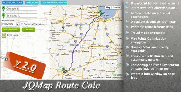 JQMap Route Calc
