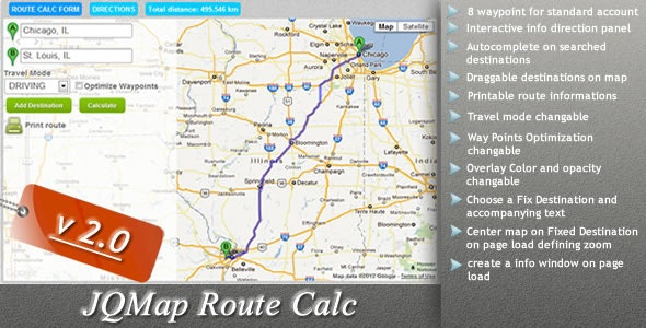 JQMap Route Calc - CodeCanyon Item for Sale