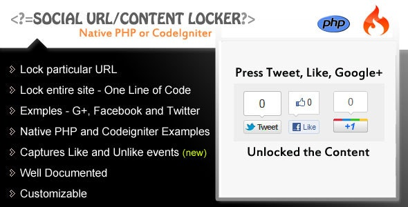 Social Content/URL Locker - PHP - CodeCanyon Item for Sale
