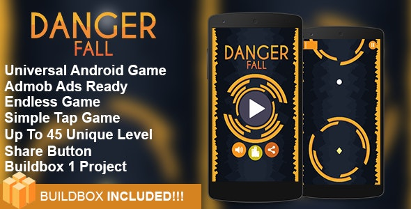 Danger Fall  - Buildbox Addictive Arcade Android Game Project - CodeCanyon Item for Sale