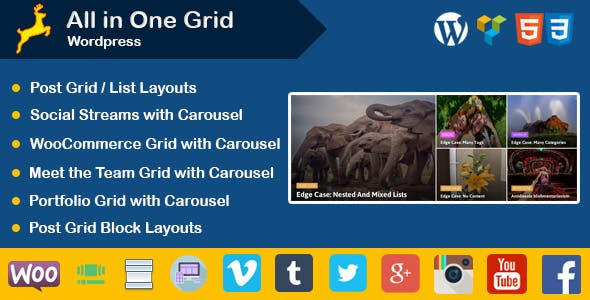 Wordpress : Post | Portfolio | Social Stream | WooCommerce | Team Grid Layouts