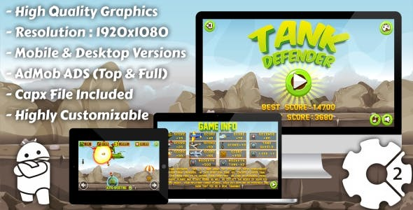 Tank Defender - HTML5 Game, Mobile Version+AdMob!!! (Construct 3 | Construct 2 | Capx)