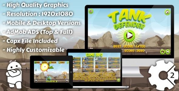 Tank Defender - HTML5 Game, Mobile Version+AdMob
