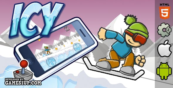 Icy HTML5 Construct 2 Snowboarding Game