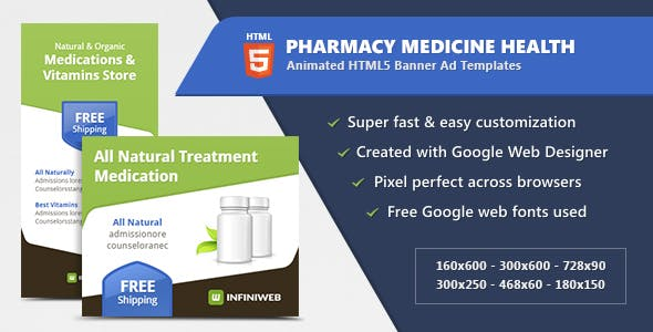 Pharmacy Medicine Health - HTML5 Banner Ad Templates