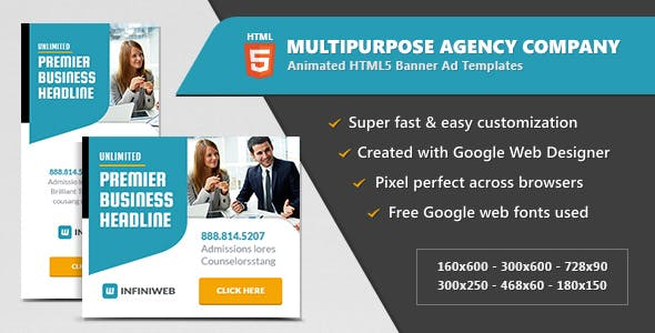 Multipurpose Agency Company - HTML5 Banner Ad Templates