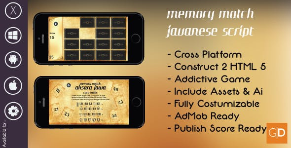 Javanese Memory Match + Template + AdMob + Publish Score + Addictive Game